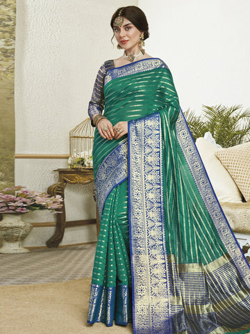 Green Color Banarasi Silk Women's Saree - SL-2301