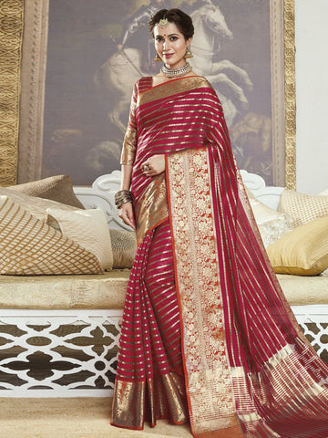 Maroon Color Banarasi Silk Women's Saree - SL-2303