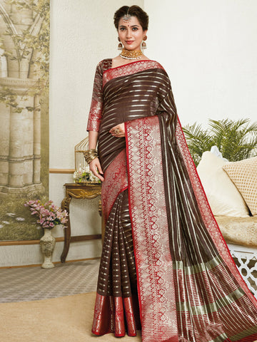 Brown Color Banarasi Silk Women's Saree - SL-2307
