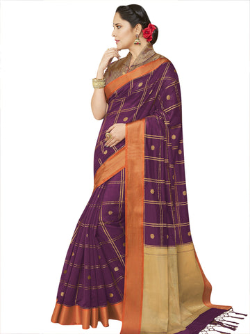 Purple Color Banarasi Silk Women's Saree - SL-2325