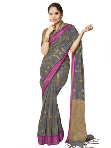 Grey Color Banarasi Silk Women's Saree - SL-2327