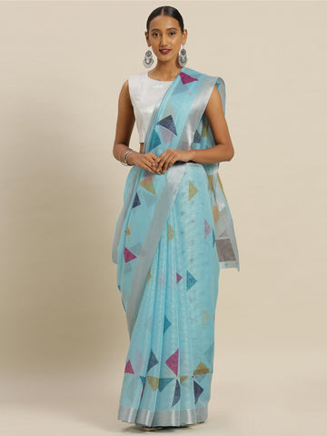 Sky Blue Color Kora Silk Women's Saree - SL-2333