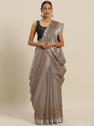 Beige Color Kora Silk Women's Saree - SL-2335