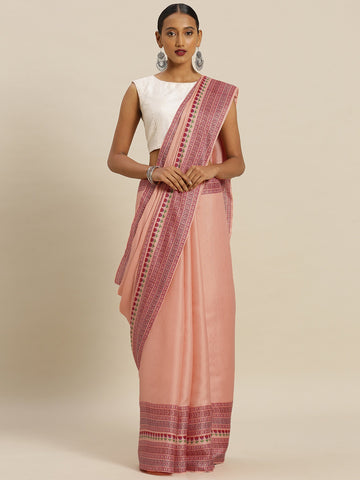 Peach Color Tussar Silk Women's Saree - SL-2339