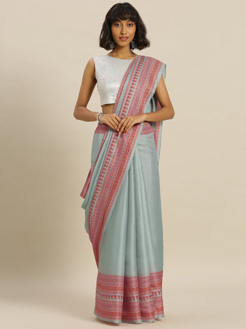 Teal Color Tussar Silk Women's Saree - SL-2340