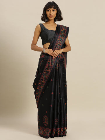 Black Color Tussar Silk Women's Saree - SL-2342