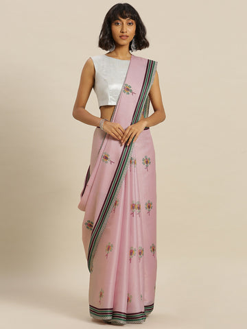 Pink Color Tussar Silk Women's Saree - SL-2343