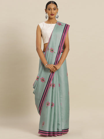 Turquoise Color Tussar Silk Women's Saree - SL-2344