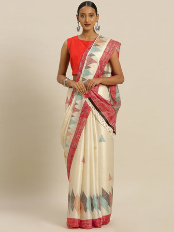 Cream Color Tussar Silk Women's Saree - SL-2345