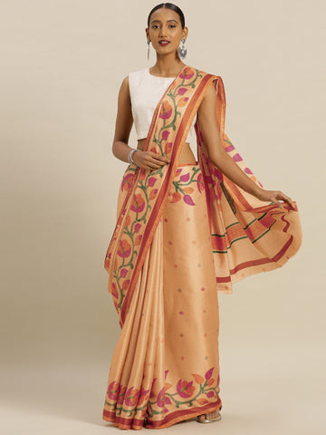 Beige Color Tussar Silk Women's Saree - SL-2346