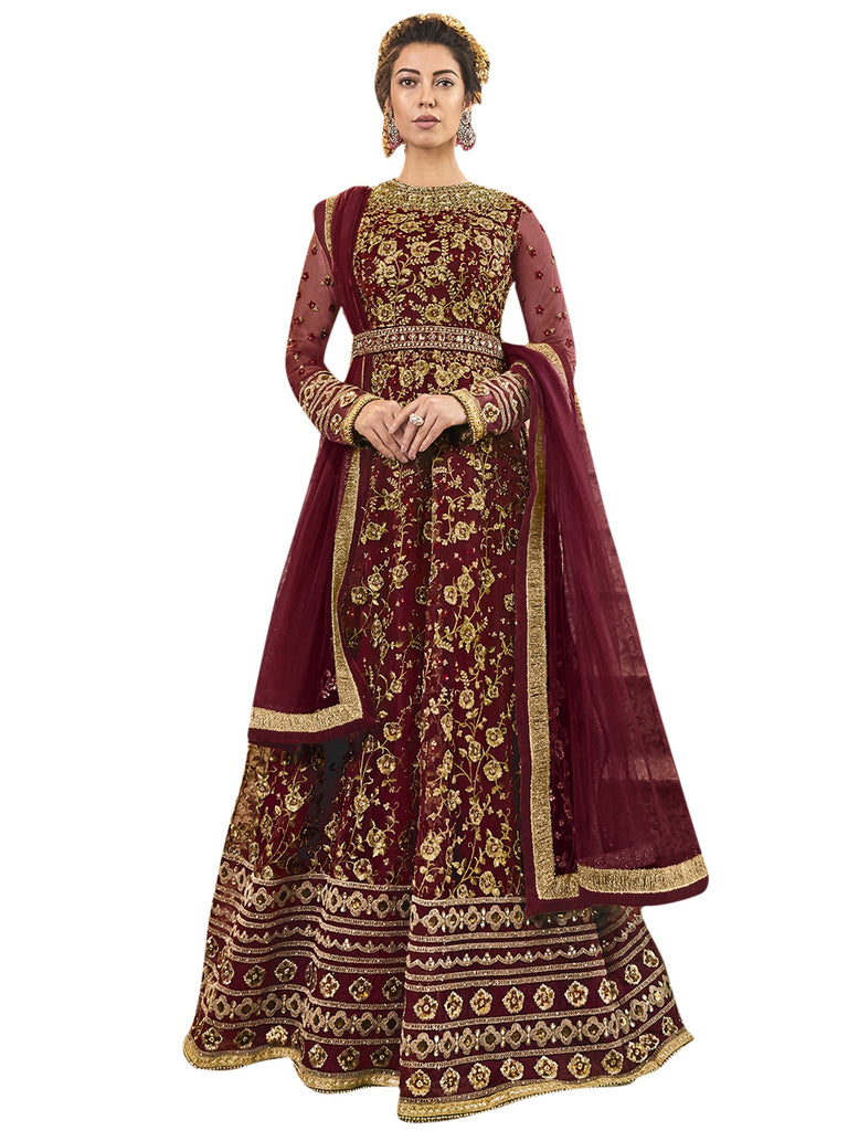 Buy Maroon Color Net Women's Semi Stitched Salwar Suit
