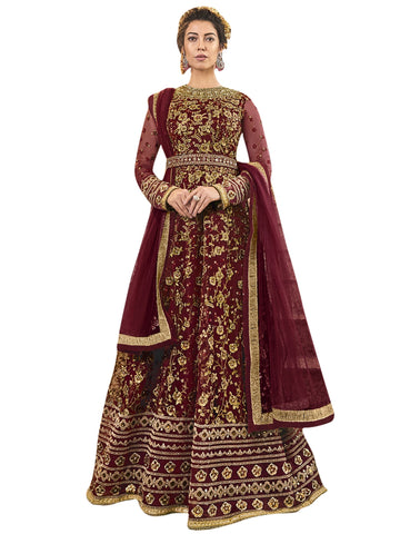 Maroon Color Net Women's Semi Stitched Salwar Suit - SL-2347