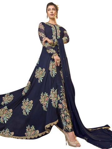 Navy Blue Color Art Silk Women's Semi Stitched Salwar Suit - SL-2350