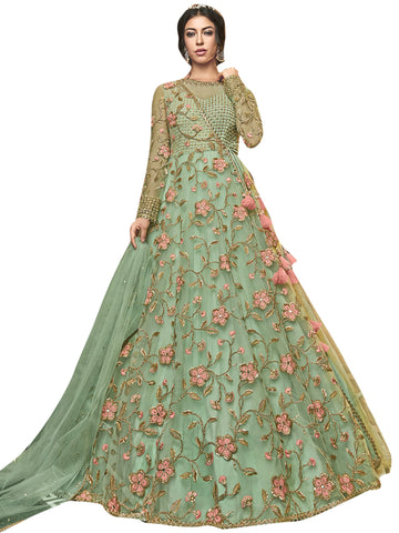 Green Color Net Women's Semi Stitched Salwar Suit - SL-2352