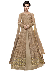 Buy Beige Color Net Women's Semi Stitched Salwar Suit
