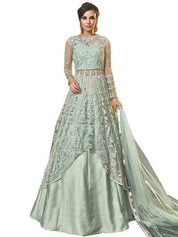 Green Color Net Women's Semi Stitched Salwar Suit - SL-2355