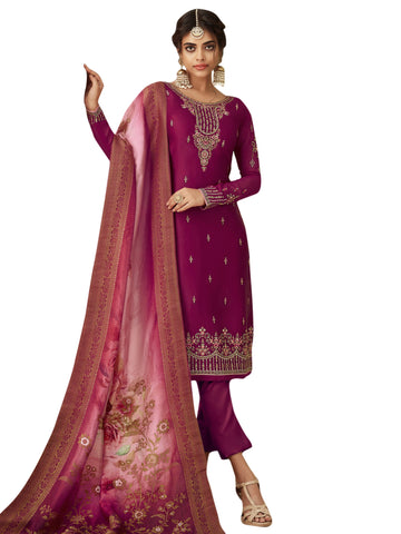 Wine Color Satin Women's Semi Stitched Salwar Suit - SL-2359