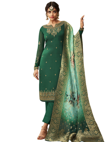 Green Color Satin Women's Semi Stitched Salwar Suit - SL-2360