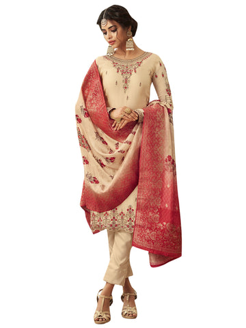 Beige Color Satin Women's Semi Stitched Salwar Suit - SL-2361