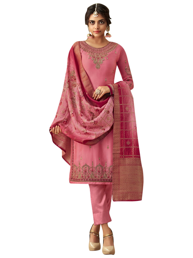 Buy Pink Color Satin Women's Semi Stitched Salwar Suit