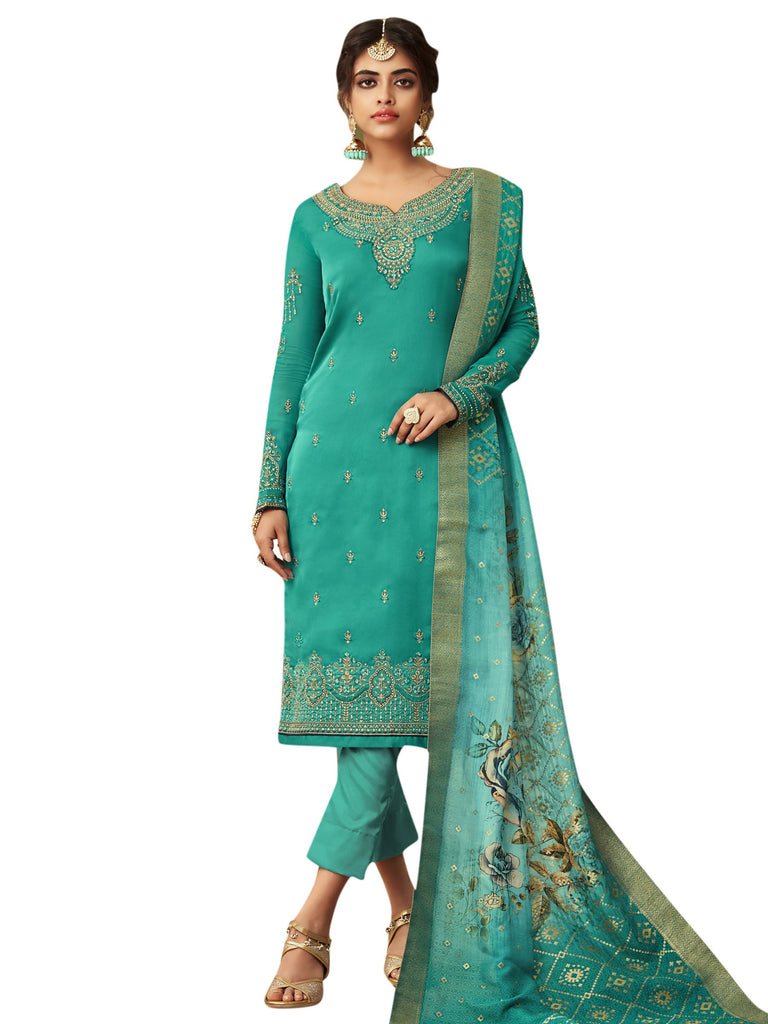 Buy Green Color Satin Women's Semi Stitched Salwar Suit