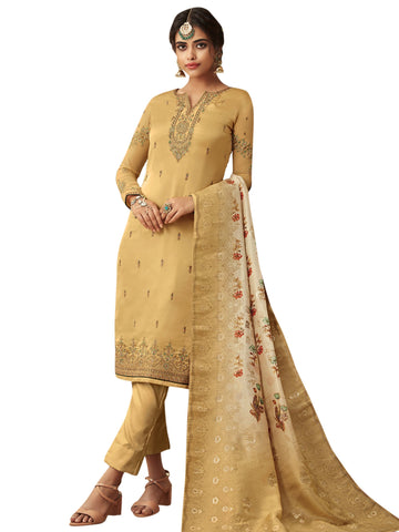 Yellow Color Satin Women's Semi Stitched Salwar Suit - SL-2365