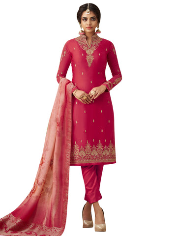 Magenta Color Satin Women's Semi Stitched Salwar Suit - SL-2366