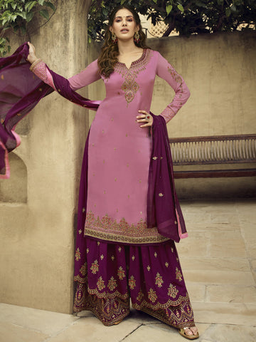 Pink Color Satin Women's Semi-Stitched Salwar Suit - SL-2367