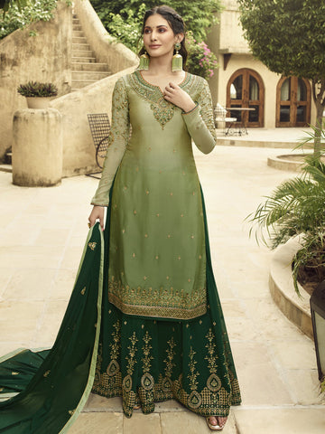 Green Color Satin Women's Semi-Stitched Salwar Suit - SL-2368