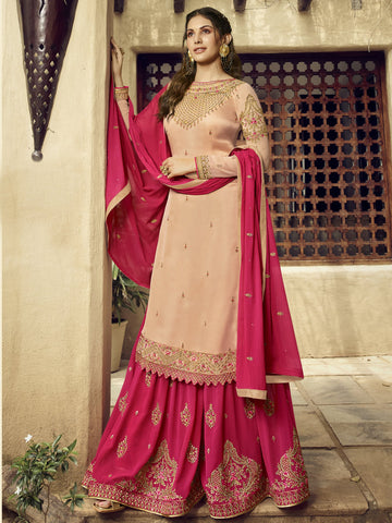 Beige Color Satin Women's Semi-Stitched Salwar Suit - SL-2369