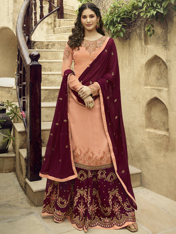 Peach Color Satin Women's Semi-Stitched Salwar Suit - SL-2371
