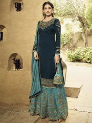 Buy Navy Blue Color Satin Women's Semi-Stitched Salwar Suit