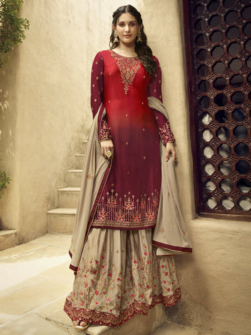 Red Color Satin Women's Semi-Stitched Salwar Suit - SL-2373