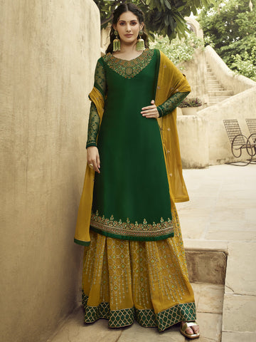 Green Color Satin Women's Semi-Stitched Salwar Suit - SL-2374
