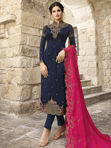 Navy Blue Color Satin Women's Dress Material - SL-2375