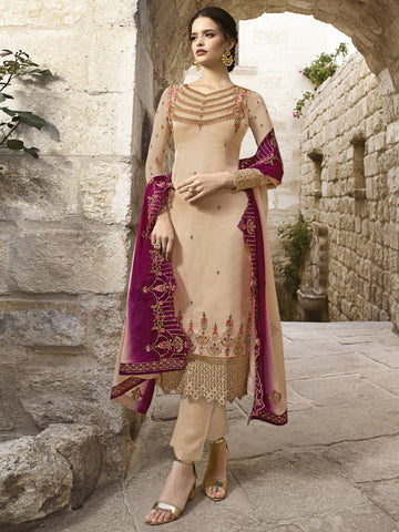 Beige Color Satin Women's Dress Material - SL-2380