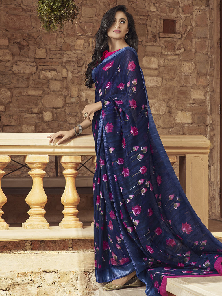 Buy Navy Blue Color Linen Women's Saree