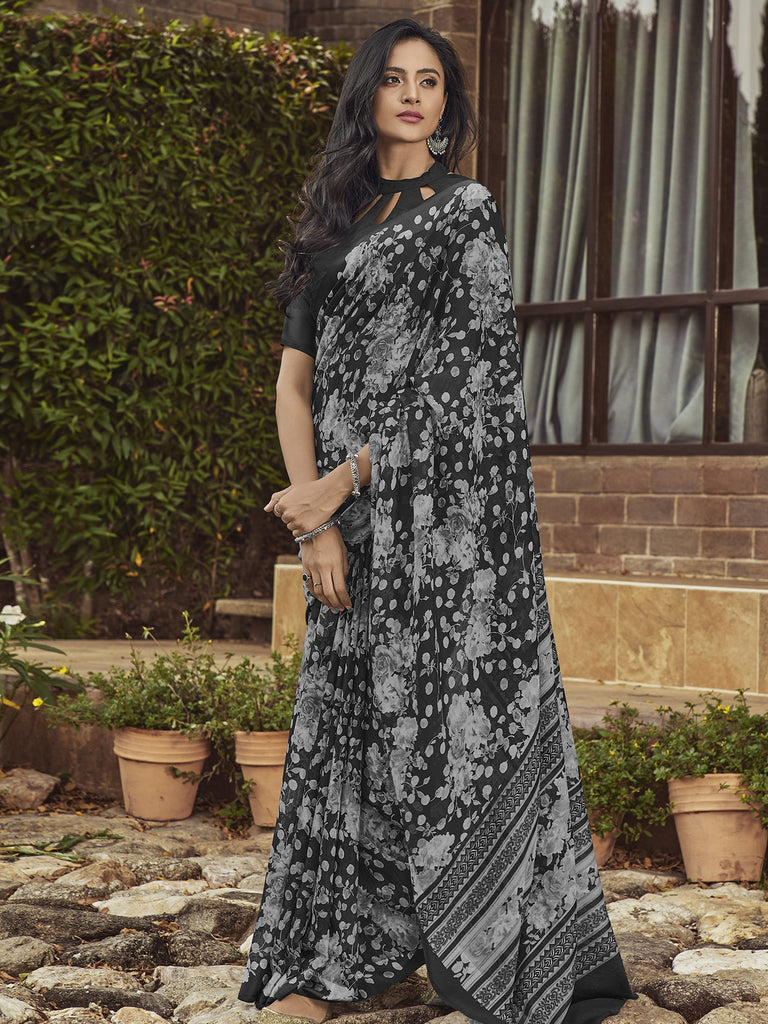 Buy Black Color Linen Women's Saree