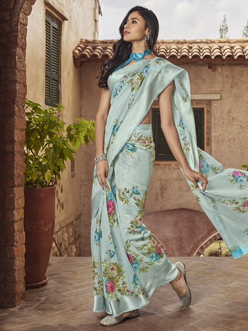 Sky Blue Color Linen Women's Saree - SL-2388