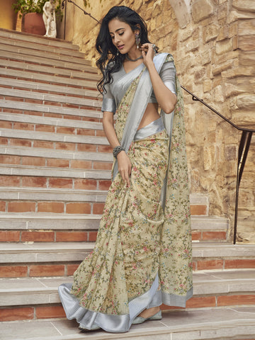 Beige Color Linen Women's Saree - SL-2389