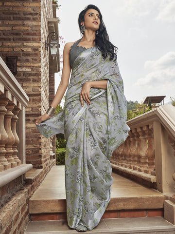 Grey Color Linen Women's Saree - SL-2390