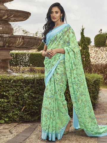 Green Color Linen Women's Saree - SL-2392