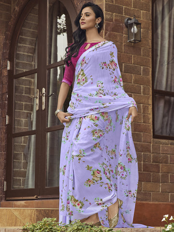 Lavender Color Linen Women's Saree - SL-2395