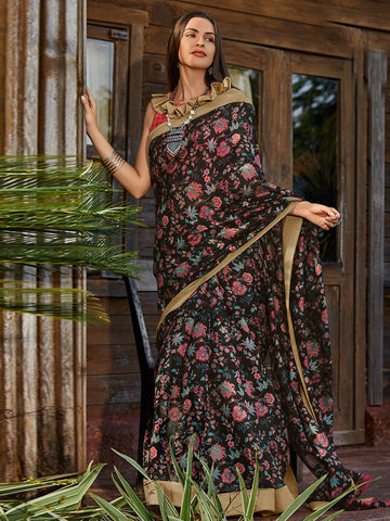 Black Color Cotton Blend Women's Saree - SL-2396