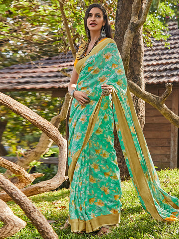Green Color Cotton Blend Women's Saree - SL-2398