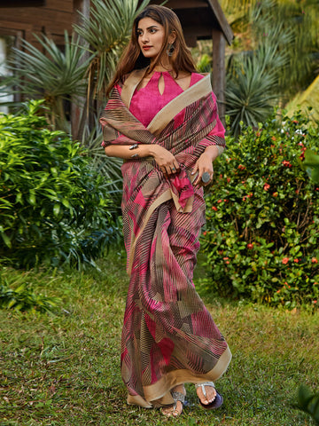 Magenta Color Cotton Blend Women's Saree - SL-2399