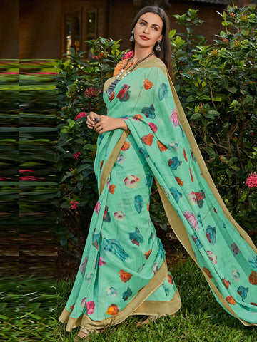 Green Color Cotton Blend Women's Saree - SL-2403