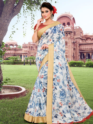 Blue Color Cotton Blend Women's Saree - SL-2404