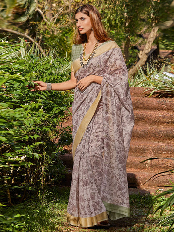 Beige Color Cotton Blend Women's Saree - SL-2405