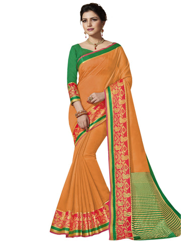 Orange Color Banarasi Silk Saree - SLS-1825